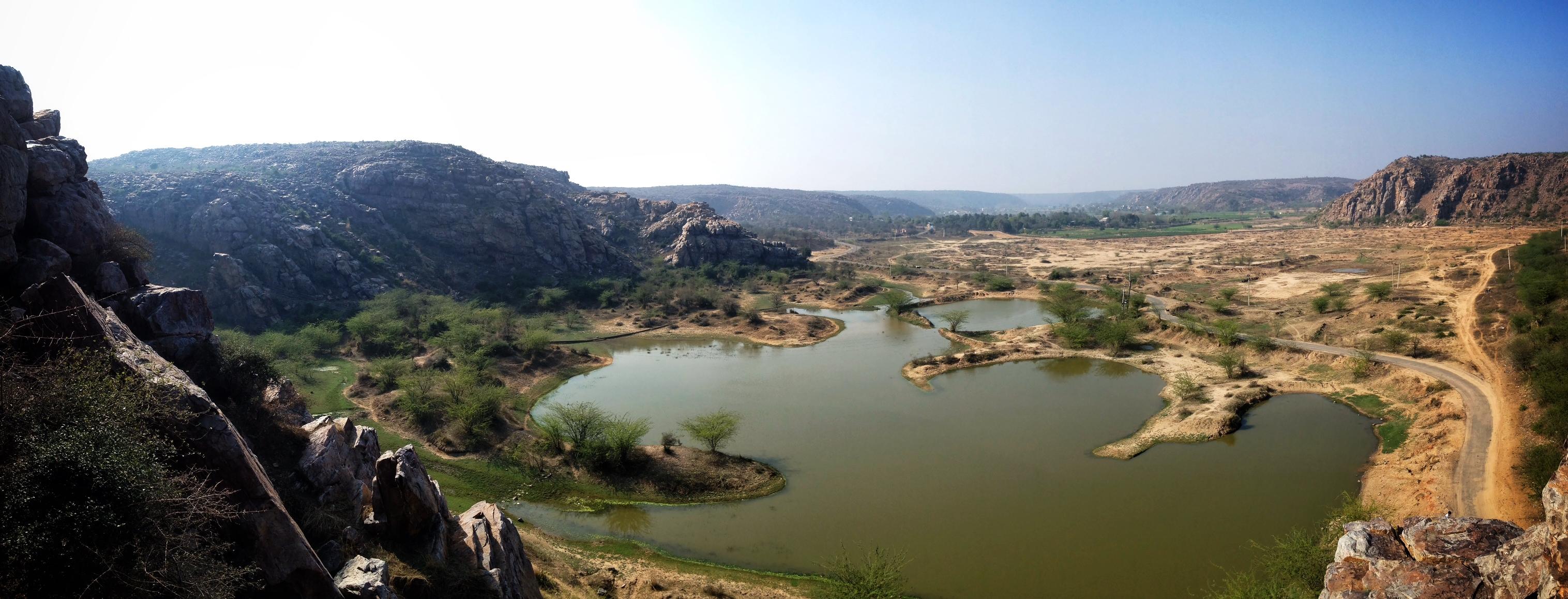Landscape mountains view Haryana New Delhi India photo