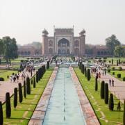 Pool, park and gateway at Taj Mahal, Agra, India photo