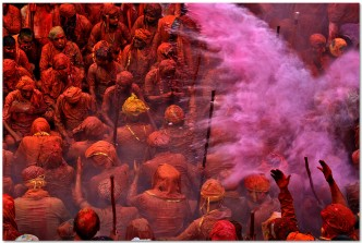 Holi festival celebration in Nandgaon photo