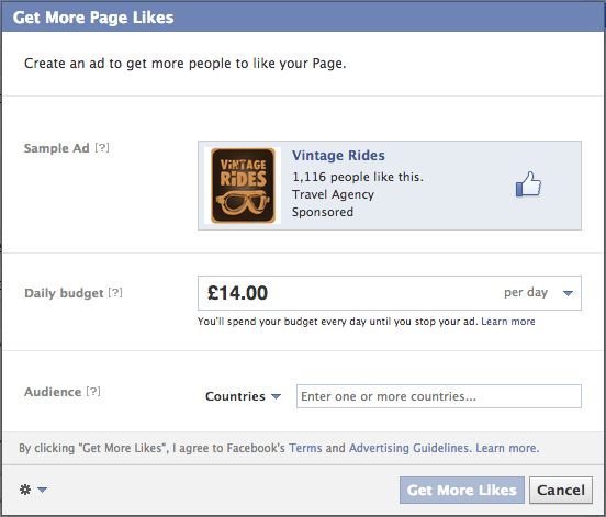 Facebook advertising - Get More Likes feature, social media marketing