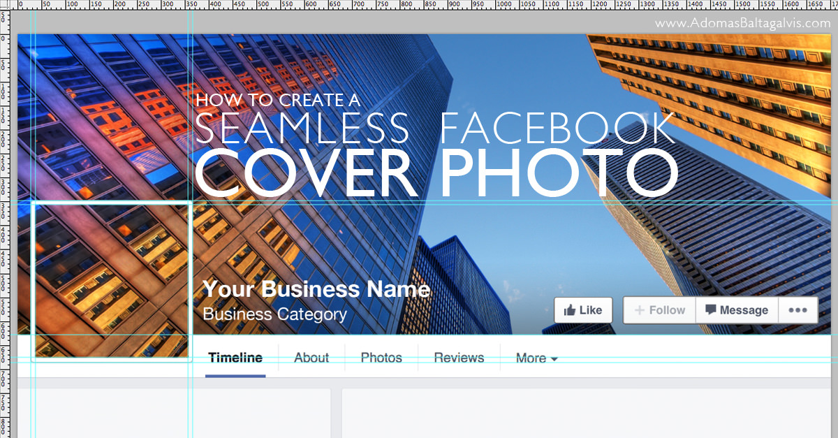 How to combine Facebook cover photo with profile picture for your FB business page - design tutorial and free Facebook cover photo template 2015 | AdomasBaltagalvis.com #Facebook #design