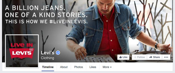 Levis FB Business Page timeline - incorporating the profile picture with the cover photo | #Facebook #design
