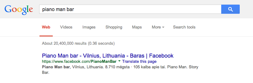 Optimise your Facebook page for search engines by filling in the About section