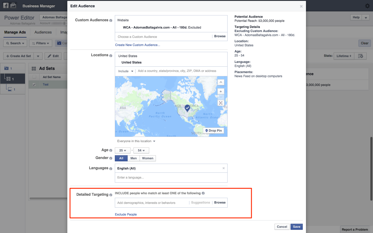 Basic Facebook Ads Targeting - Cutom Audiences, Location, Gender, Age, Languages and Detailed Targeting