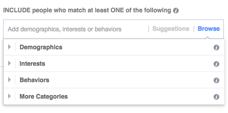 Demographics, Interests, Behaviours and Categories under Facebook Detailed Targeting