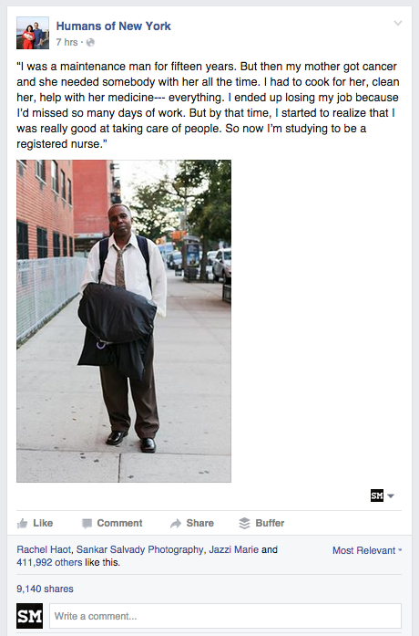 Example Facebook Page Post from the Humans of New York