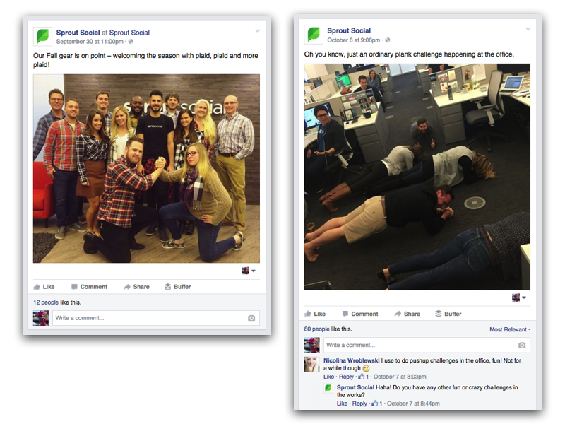 Sprout Social's Facebook page communication strategy - making it personal