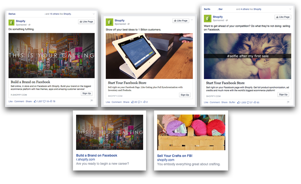 Examples of Shopify Facebook ads on desktop news feed and sidebar
