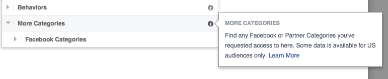 Facebook Partner Categories Targeting only available in US