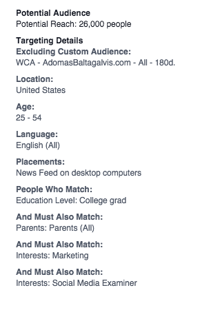 Potential Audience size with Facebook Detail Targeting