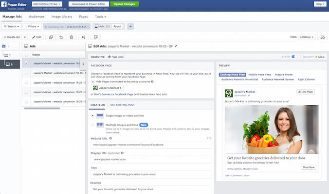 New Layout of Facebook Power Editor tool for creating ad campaigns 2015