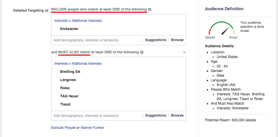 Select more relevant Facebook target audience with Detailed Targeting