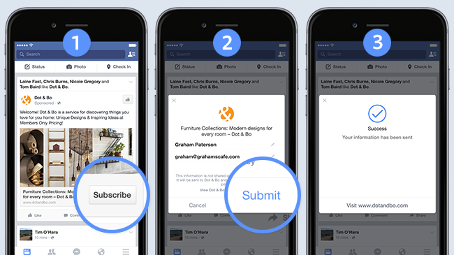 Example of Facebook Lead Ads on mobile devices