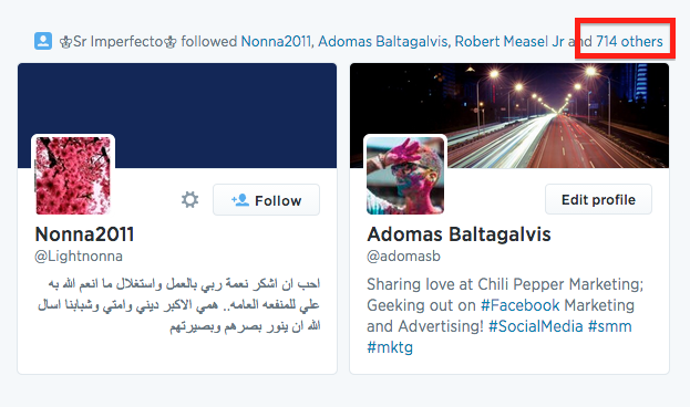 Automated illegal following activity on Twitter