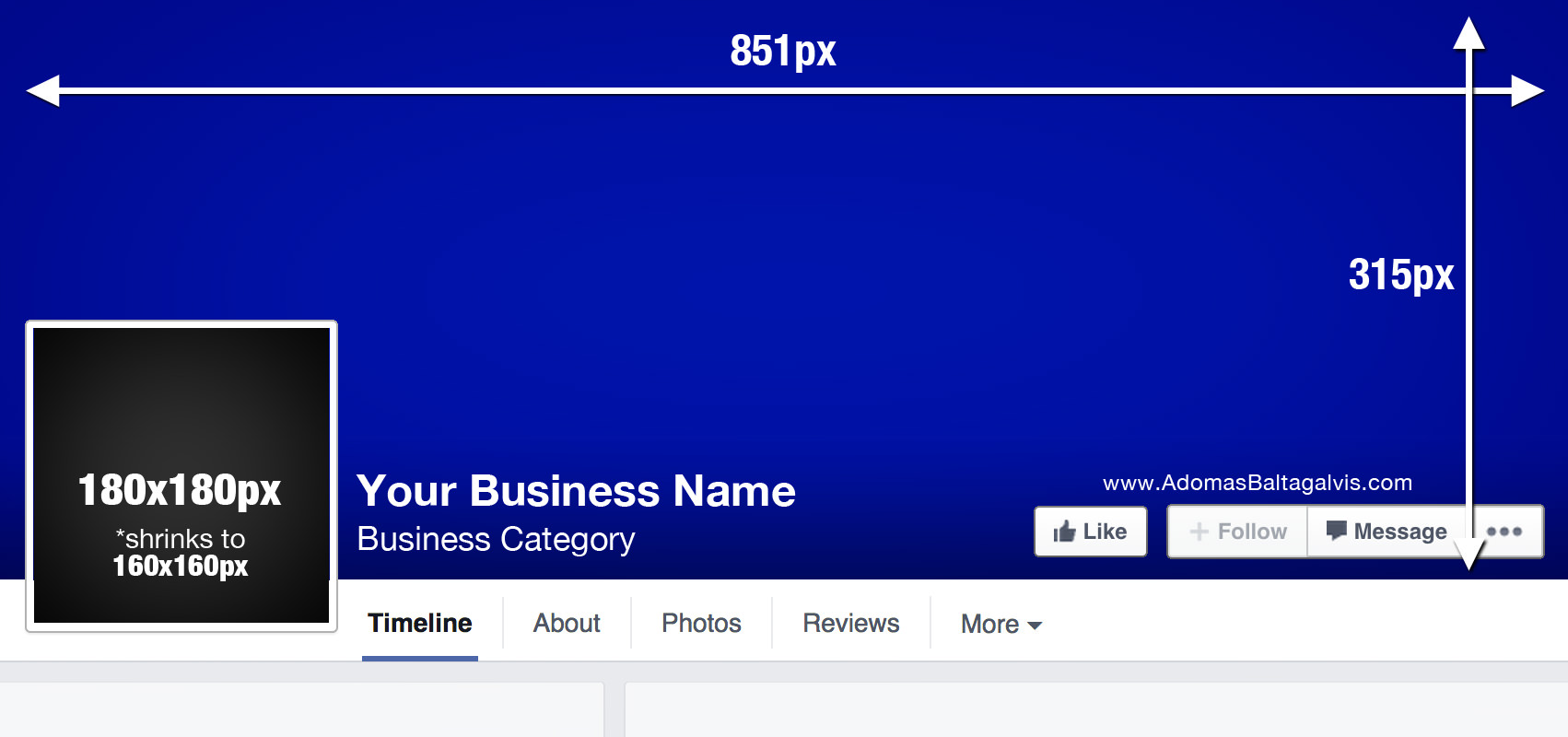 Facebook cover photo dimensions, profile picture design measurements - 851x315px in size, 2015 | AdomasBaltagalvis.com #Facebook