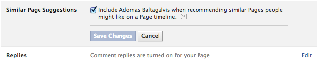 Get more Facebook likes by turning on Similar Page Suggestions in the page settings