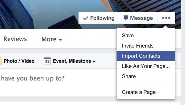 How to use Import Contacts to send an invitation to your email contacts to like your Facebook page