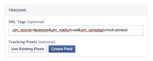 Advanced multi-product ad settings - conversion pixels tracking and url tags (utm parameters)