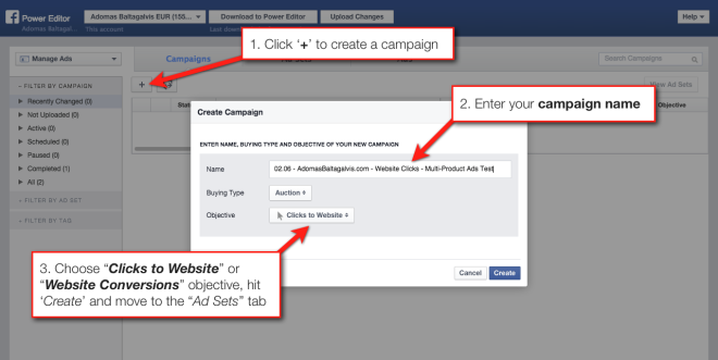 How to create a new ad campaign with Facebook's Power Editor