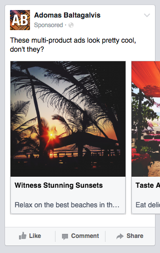 Appearance of multi-product ads on mobile news feed - Facebook