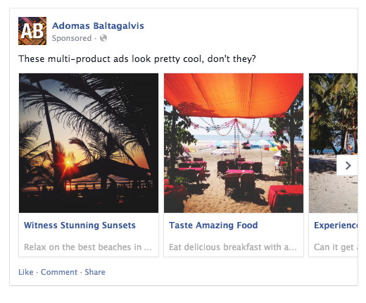 Preview of a multi-product ad on Facebook