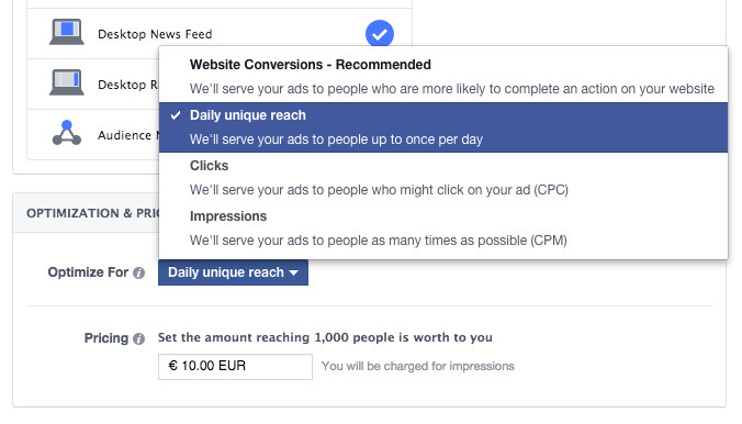 Facebook ads frequency capping with Daily Unique Reach optimisation and pricing option