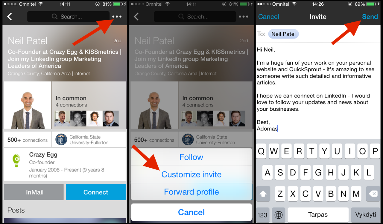 How to customize a LinkedIn invite on iOS mobile app