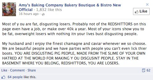 Facebook marketing fail - Amy's Baking Company insulting fans