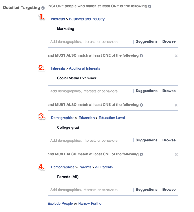 Facebook Detailed Targeting - Narrow your audience further with additional interests, demographics, behaviors, categories